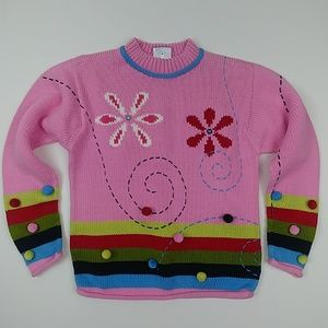 Hanna Andersson pink flower organic cotton sweater